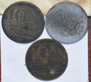 Germany 1918 10/10/10 Pfennig Worms 490302 combine