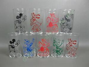 "9 Antique Walt Disney 1930s 4"" Tumbler Glass Set Horace Mickey Minnie Mouse MORE"