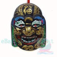 China Folk Art Wood Hand Carved Painted NUO MASK Walldecor-Happy Buddha tall19cm