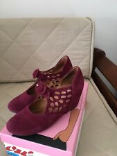"""Jeffrey Campbell """"Torch"""" Mary Jane Wedge, Red Suede, Size 7.5, Great condition"""