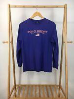 VTG Polo Sport Ralph Lauren Classic Spellout Flag Long Sleeve T-Shirt YOUTH XL