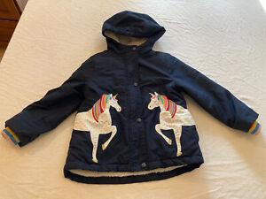 Mini Boden Girls 5-6 Navy Lined Anorak Coat Unicorns Rainbows