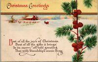 Vintage 1923 Friendship's Music Rings POEM, Merry Christmas Postcard