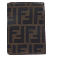 Authentic FENDI Zucca Pattern Bifold Wallet Purse Nylon Leather Brown 08EJ995