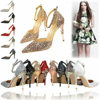 Womens Pointed-toe Bling Strappy Sandals Stiletto High Heels Wedding Shoes Party
