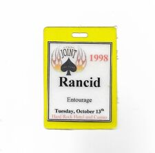 Rancid Backstage Pass 1998 The Joint Hard Rock Hotel Las Vegas Punk Laminated