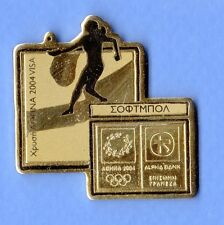 ATHENS 2004. OLYMPIC GAMES. PIN FROM SPONSOR ALPHA BANK'S GOLDEN  SET. SOFTBALL