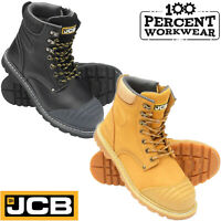 Heavy Duty JCB Leather Work Safety Boots Side Zip Steel Toe Mid Sole Scuff Cap
