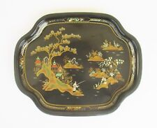 VINTAGE ENGLISH WORCESTER WARE ORIENTAL LACQUERED TIN TRAY