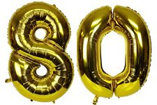 "40"" Large 80 Gold Number Balloons 80th Birthday Anniversary Foil Float Helium"