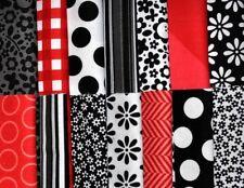 "Designer Fabric 5"" Squares Charm Pack, Black/White/Red, 56 pieces, 100% cotton"