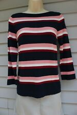 NWT Ann Taylor Navy Striped 3/4 Sleeved Lightweight Boatneck Sweater M