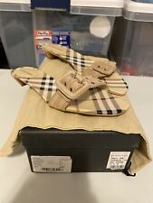 BURBERRY Shoes Sandals ITALY 38 White Wood Dr. Scholl's US 8 Checkered