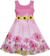 Sunny Fashion Girls Dress Sunflower Bubble Lily Flower Garden Print 4-12 6