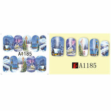 Nail Art Water Decals Stickers Christmas Card Scene Snowy Winter Evening (A1185)