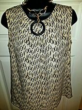 Jones New York Size (10) Woman  Top White Beige Black linked circles polyester