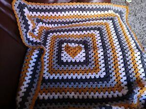 MADE TO ORDER crochet baby blanket/car seat/pram/crib heart in granny square