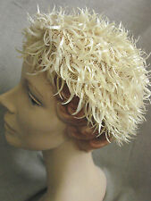 Vintage 60s CURVED SEQUIN Hat Skull Cap Beanie Ivory VGC Mesh