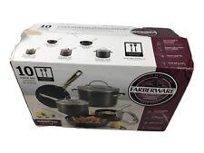Farberware Neat Nest Nonstick Aluminum 10-Piece Cookware Set   Open Box   NIB
