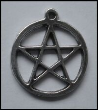 PEWTER CHARM #1409 PENTAGRAM in circle  (27mm x 24mm) 1 bail