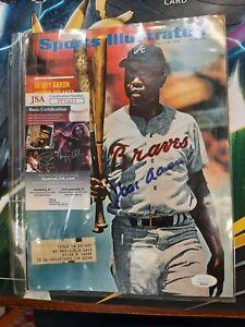 Hank Aaron Signed Sports Illustrated Magazine August 1969 JSA COA