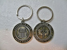 2 UNION PACIFIC COURAGE SHIELD SPINNING  PEWTER KEYCHAIN FREE 1ST CLS S&H