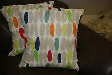TWO HANDMADE REVERSIBLE CUSHIONS IN LAURA ASHLEY WALLACE NATURAL AND MULTI