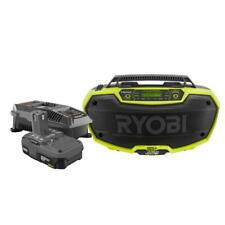 Ryobi Hybrid Stereo Bluetooth Technology w Battery Charger Jobsite Audio 18Volt