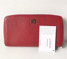 Lodis Dark Red/Silver Pebbled Leather ALANIA Zip Around Wallet - NEW