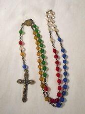 Ancien chapelet 59 perles de verre facetées multicolores old rosary