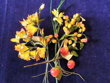 "Vintage Millinery Flower Collection 1/2 -1 1/4"" Yellow Orange Red Fruit H1142"