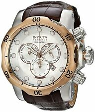 Invicta 0359 Men's Reserve Chronograph Silver Textured Dial Brown Leather Watch