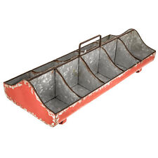 Red Galvanized Metal Caddy  Home Decor