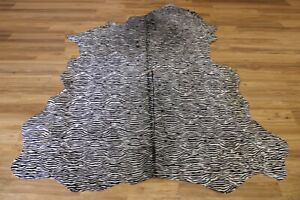 """Zebra Print on White Cowhide - Size (7'8""""x6'9"""" Ft)    Premium Cowhide Leather"""