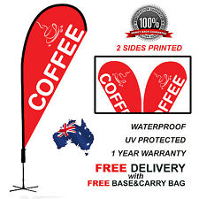 2.6m RED COFFEE Teardrop Flag Banner Kit Outdoor CLRED310