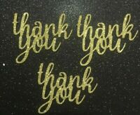 Thank You Cup Cake Toppers Gold Glitter Pack of 6 - Free UK P&P