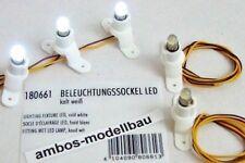 Faller 180661 Häuserbeleuchtung, Beleuchtungssockel 5 Stück, LED, Licht kaltweiß