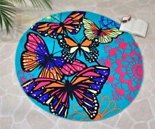 """59"""" Round Butterfly Design Beach Towel Teal Background Polyester"""