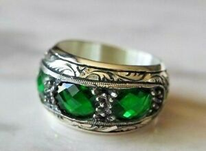 Emerald Men's  Ring925 Sterling Silver Handmade Authentic Turkish Ring  7-12