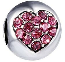 SILVER PINK CRYSTAL LOVE HEART CHARM BEAD FOR BRACELET, NECKLACE