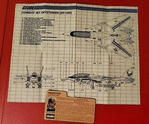 GI Joe Skystriker Combat Jet XP-14F Instructions Blueprints 1983 + Ace File Card