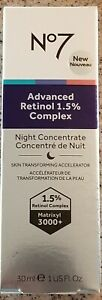 No7 Advanced Retinol 1.5% Complex Night Concentrate 1oz 30ml~Brand New/Sealed!