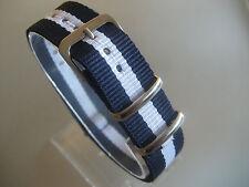 Uhrenarmband Nylon blau weiß blau 18 mm NATO BAND Dornschließe Textil