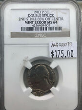 United States 1983 P 5 Cents Double Struck 2nd Strike 85% Off Centre NGC MS64