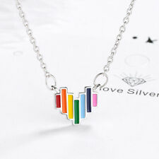 925 Sterling Silver Rainbow stripes Heart Pendant Necklace Women Jewelry DZ473