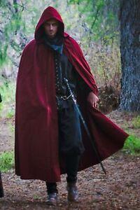 Medieval Hooded Cloak/Cape (Black, Red, Brown) - 5003