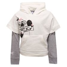 8806V felpa con maglia bimba Everlast white/grey cotton sweatshirt girl kid