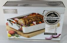 "NEW IN BOX FARBERWARE 14""X10"" MILLENNIUM ROASTING PAN STAINLESS STEEL"