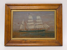 "Antique mid 19th century Marine Painting of a ""Schooner"", England - Oil on Panel"