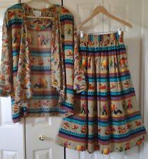 Akf New York Vintage Elastic Waist Small Skirt & Medium Open Cardigan *Very Soft